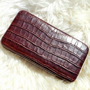 Nine West Vintage Crocodile Clutch Wallet Brown